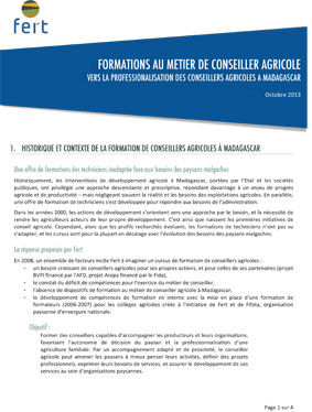 Fert resume capitalisation formation conseiller agricole